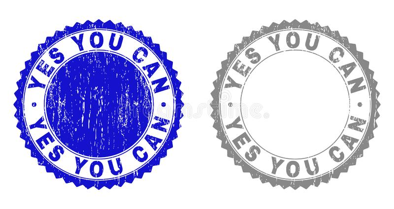 Grunge YES YOU CAN Textured Stamp Seals vector illustration