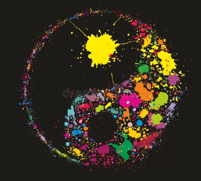 Grunge Yin Yan feito da pintura colorida espirra ilustração stock