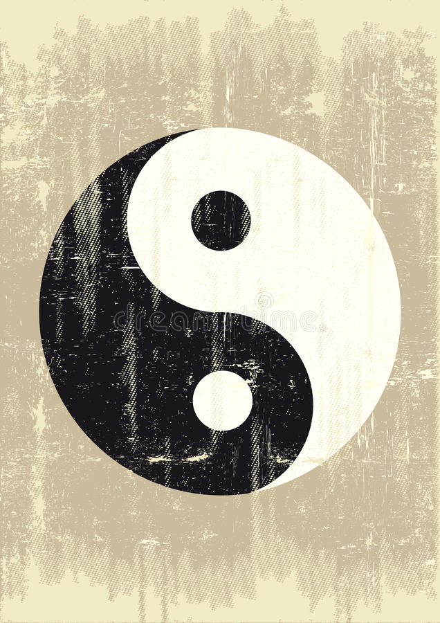 Grunge yin yang stock illustratie