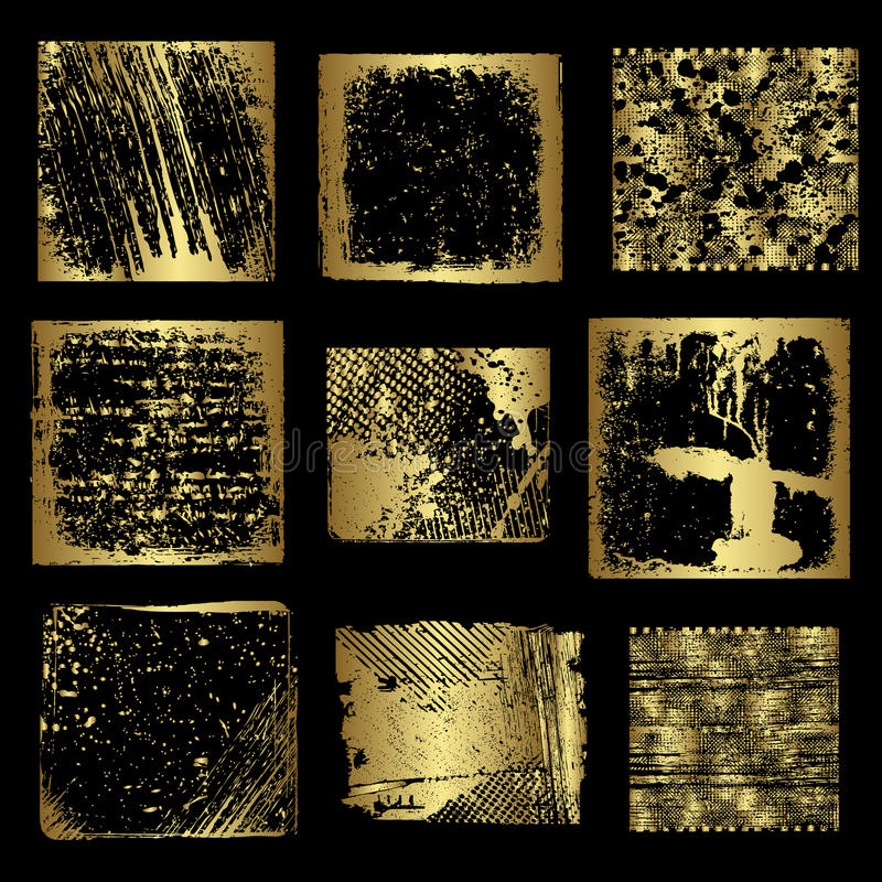 Grunge złoto obramia wektor royalty ilustracja