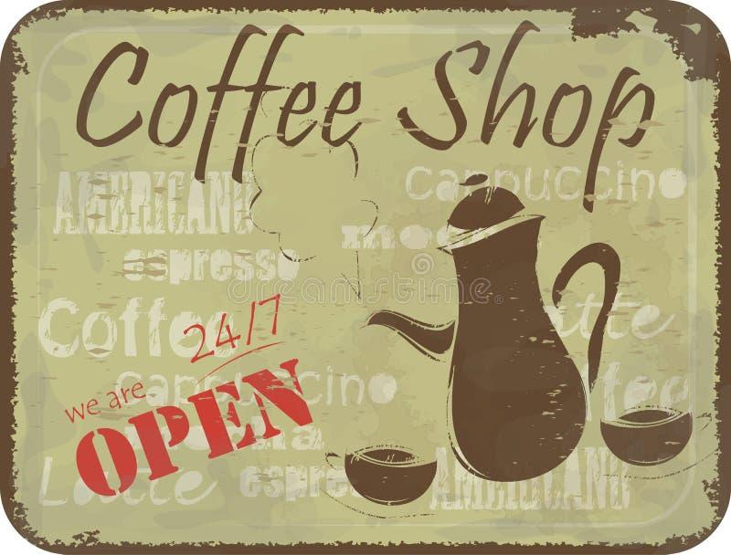 Grunge Zeichenmuster für Kaffeestube stock abbildung