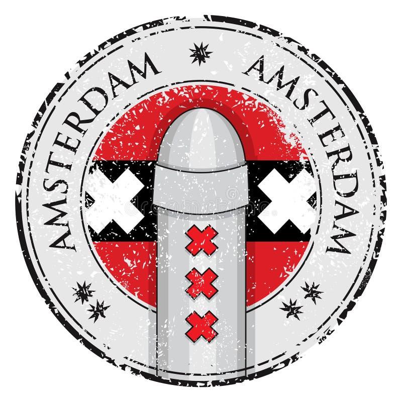 Grunge znaczek z cumownicy symol Amsterdam i flaga ilustracji