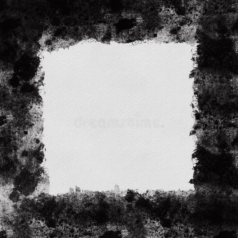 Grunge zwart Kader met abstracte getextureerde achtergrond stock fotografie