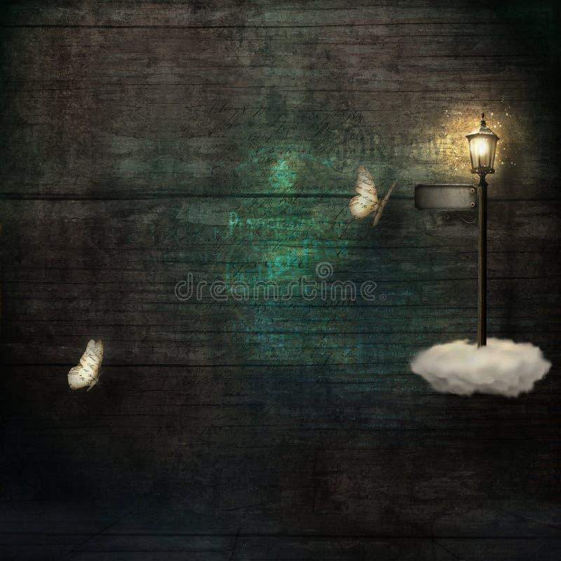 Grungeachtergrond met document vlinders en magische lantaarnpaal vector illustratie