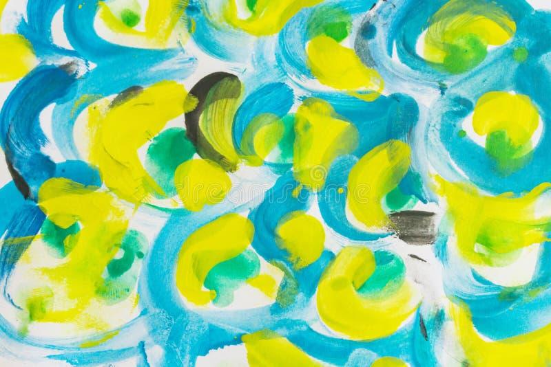 Grungeakvarel plaskar målarfärgbakgrund, guling som är chartreuse, bl royaltyfri illustrationer