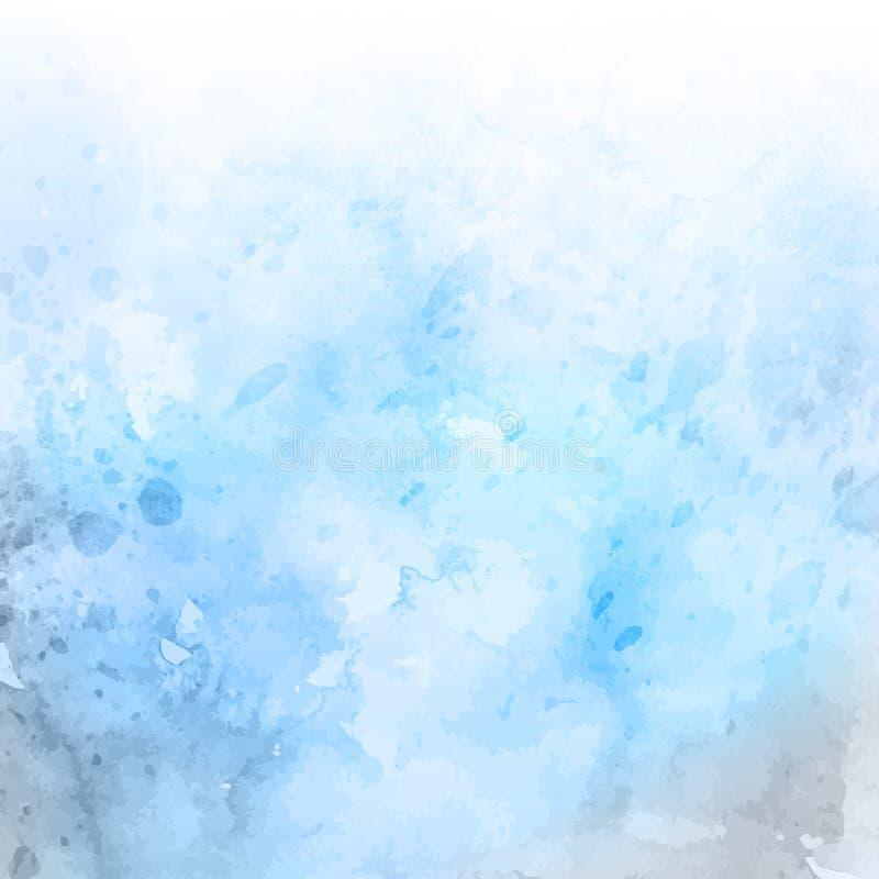 Grungeakvarellbakgrund i blåa pastellfärgade skuggor stock illustrationer
