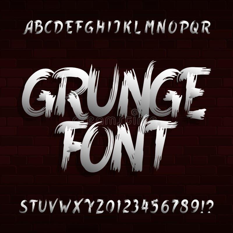 Grungealfabetstilsort Bokstäver och nummer för uppercase borsteslaglängd smutsiga smutsiga royaltyfri illustrationer