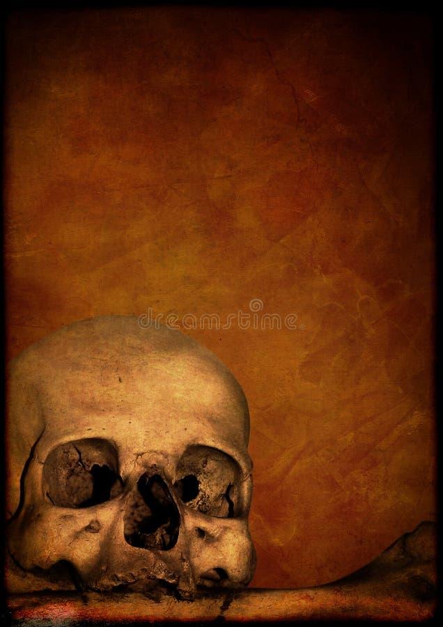 Grungeallhelgonaaftonbakgrund med den mänskliga skallen royaltyfri illustrationer