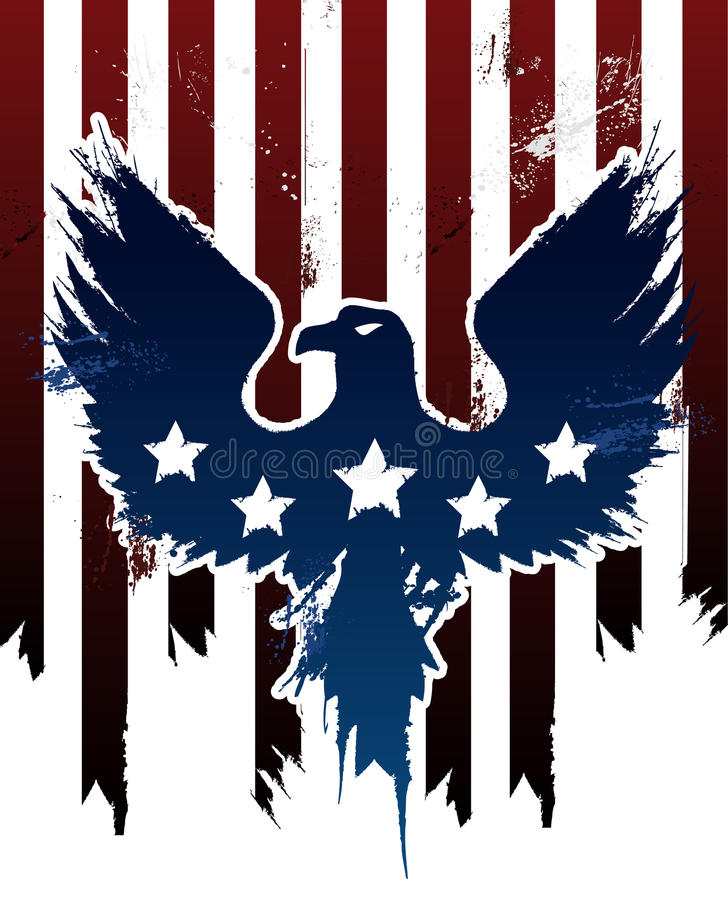 Grungeamerikan Eagle vektor illustrationer