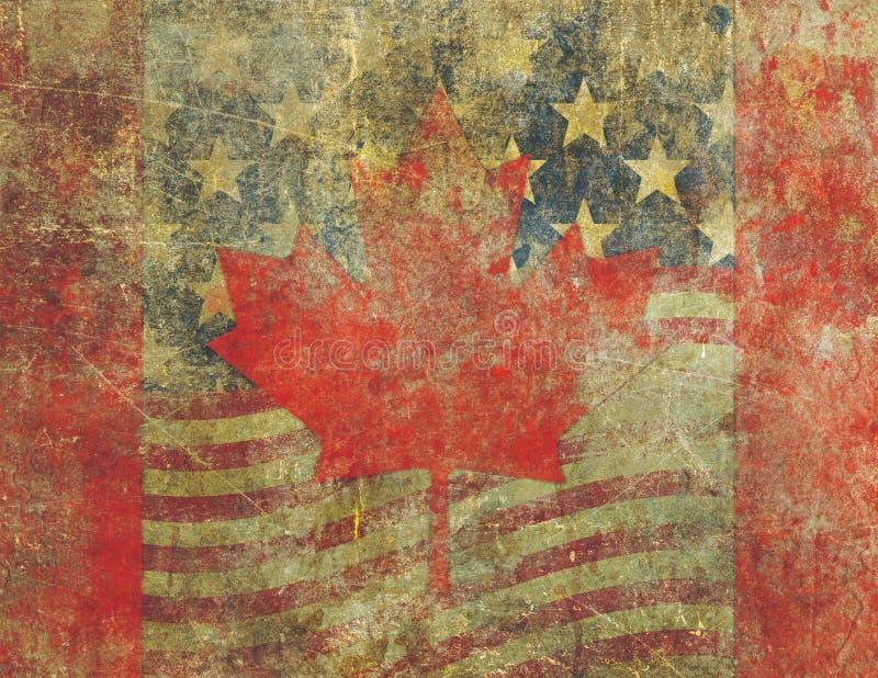 Grungeamerikanen och den kanadensiska flaggan planlägger strängt urblekt stock illustrationer