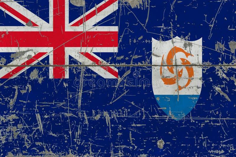 GrungeAnguilla flagga på gammal skrapad träyttersida Nationell tappningbakgrund royaltyfri foto