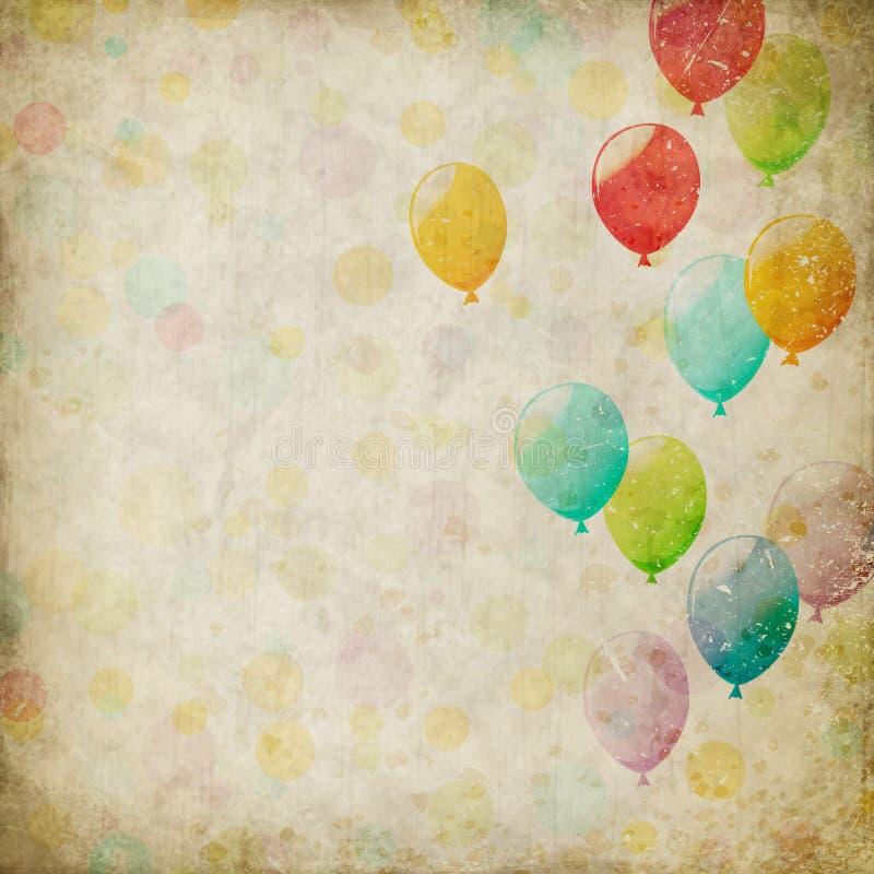 Grungebakgrund med ballonger stock illustrationer