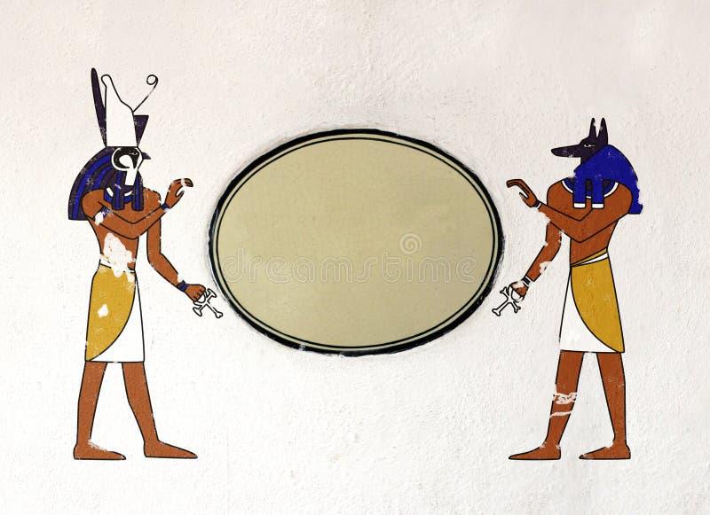 Grungebakgrund med egyptiska gudar Anubis och Horus stock illustrationer