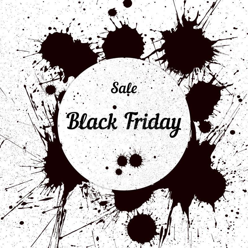 Grungebakgrund med en bläckig dribbling för Black Friday royaltyfri illustrationer