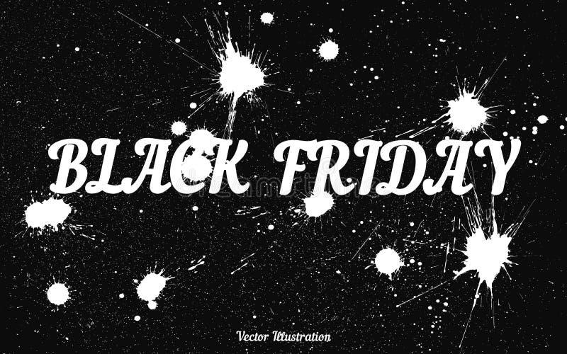 Grungebakgrund med en bläckig dribbling för Black Friday vektor illustrationer
