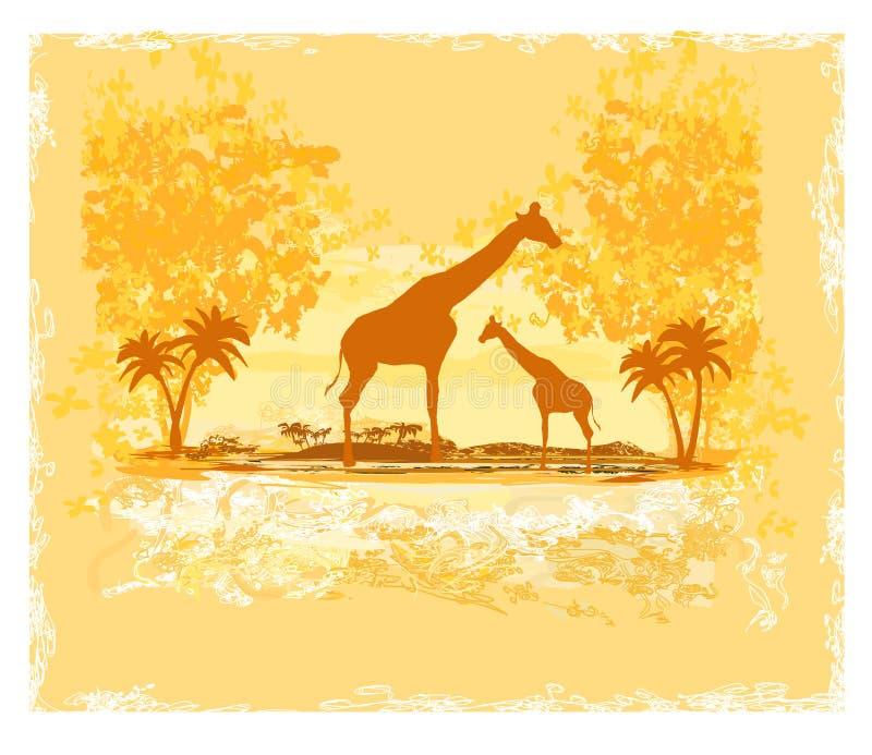 Grungebakgrund med giraffkonturn på abstrakt afrikanskt landskap vektor illustrationer