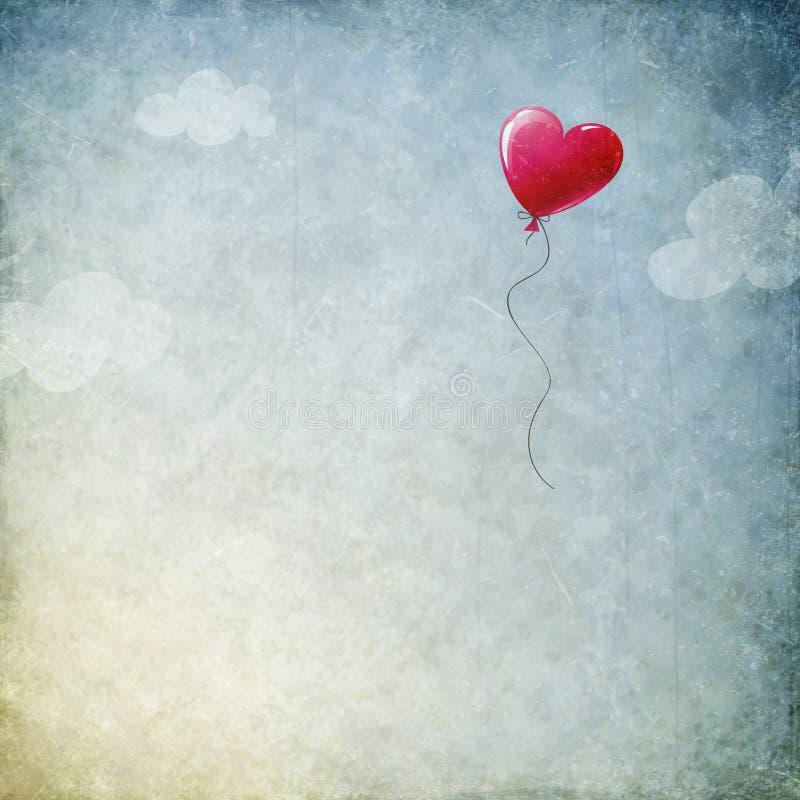 Grungebakgrund med hjärtaballongen royaltyfri illustrationer