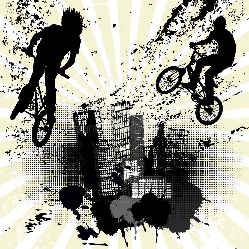 Grungebakgrund med två cyklister och stadshorisont stock illustrationer