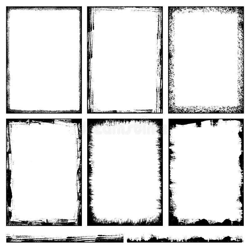 Grungebakgrunds- och ramvektor stock illustrationer