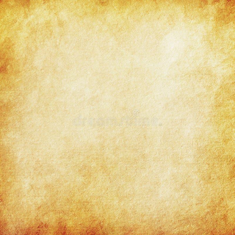 Grungebakgrundsapelsin, gammal pappers- textur, tappning, fläckar, strimmor, grovt, antikt, tomt, gult som är beigea, sida, pappe vektor illustrationer