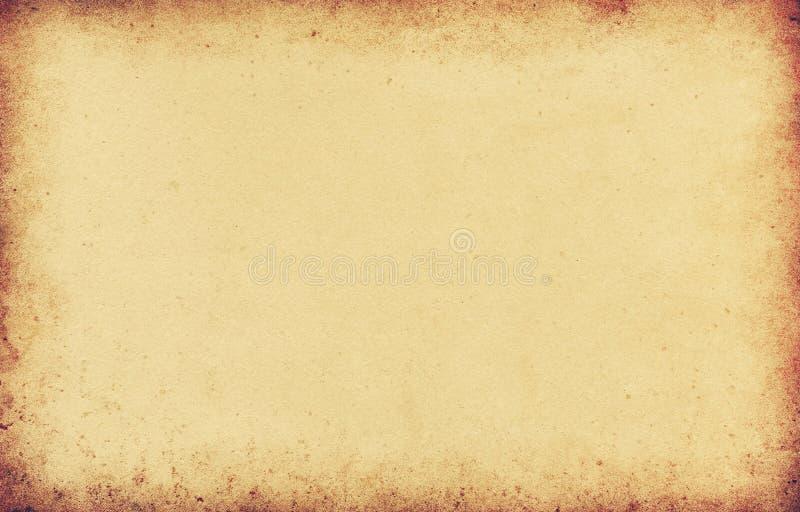 Grungebakgrundsbrunt, gammal pappers- textur, tappning, fläckar, strimmor, grovt, antikt, tomt, gult som är beigea, sida, papper vektor illustrationer