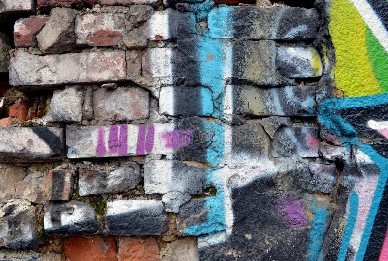 Grungebakstenen muur. Slordige oude stedelijk royalty-vrije stock foto's
