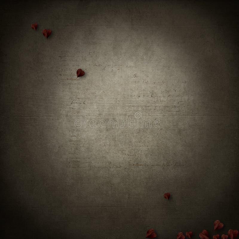 Grungebasis met rode hartbladeren royalty-vrije stock fotografie