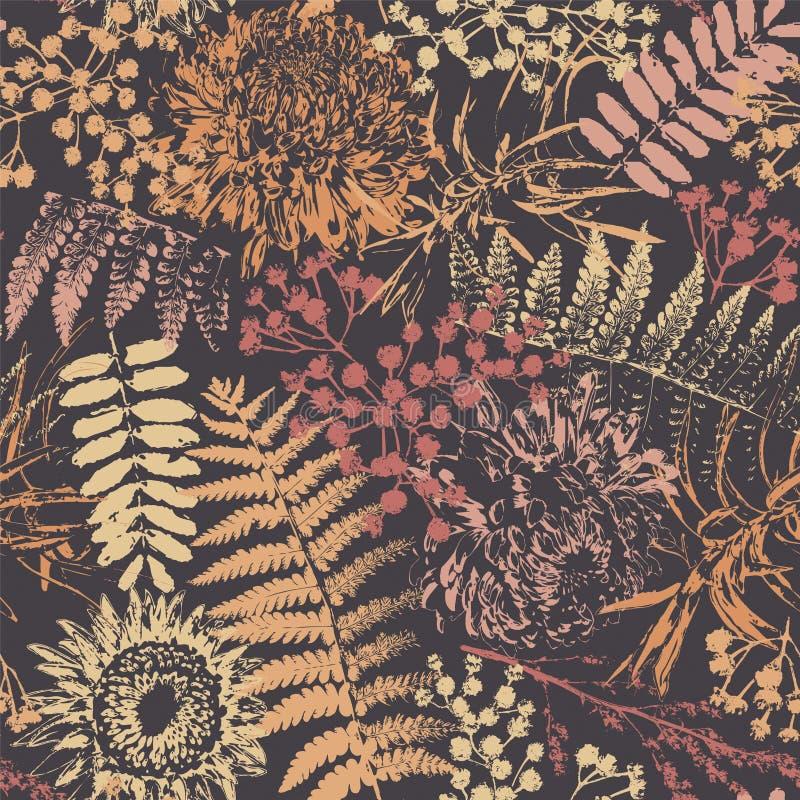Grungeblommor och sidor royaltyfri illustrationer