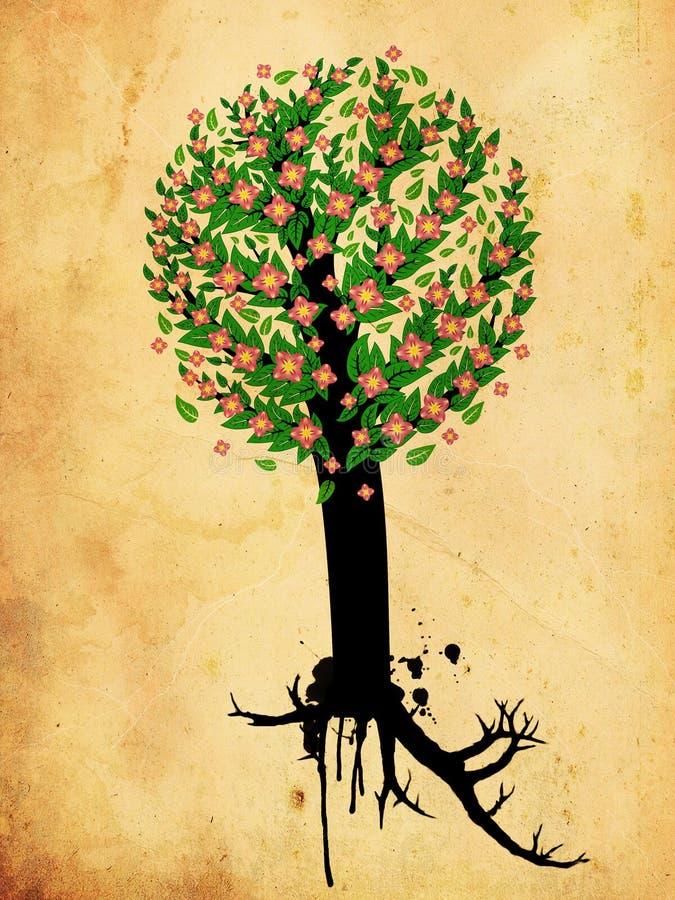 Download Grungeboom Met Roze Bloesem Stock Illustratie - Illustratie bestaande uit samenvatting, spring: 29513804