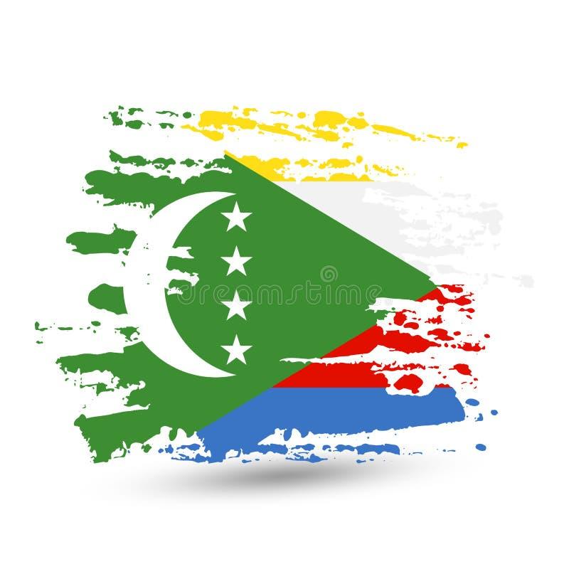 Grungeborsteslaglängd med den Comoros nationsflaggan royaltyfri illustrationer