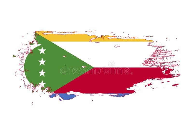 Grungeborsteslaglängd med den Comoros nationsflaggan Vattenfärgmålningflagga Symbol affisch, baner av nationsflaggan vektor royaltyfri illustrationer