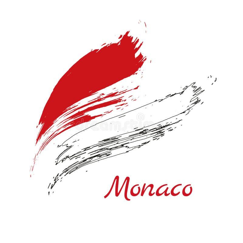 Grungeborsteslaglängd med den MONACO nationsflaggan Vattenfärgpainti vektor illustrationer