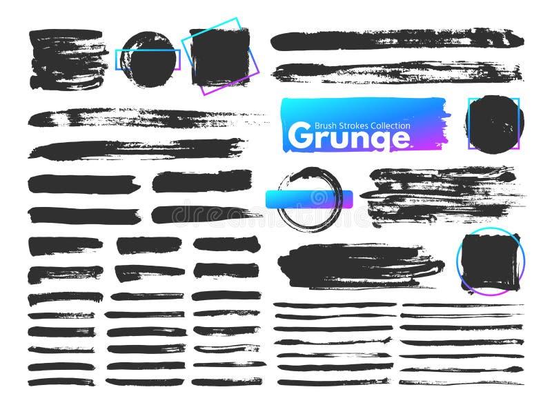Grungeborsteslaglängder Linje för vattenfärgmålarpenselslaglängd Smutsiga rektangulära fyrkantramar, smutsiga borstar och garneri stock illustrationer