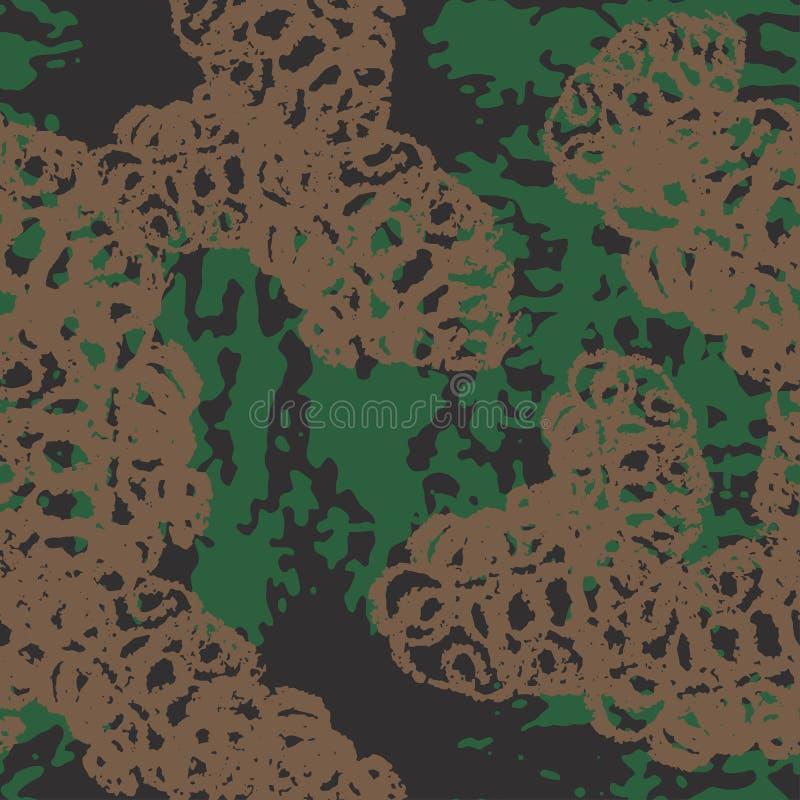 Grungecamouflage, modern manierontwerp Camo militair patroon Amerikaanse Militair modieus, stof Vector naadloze textuur stock illustratie