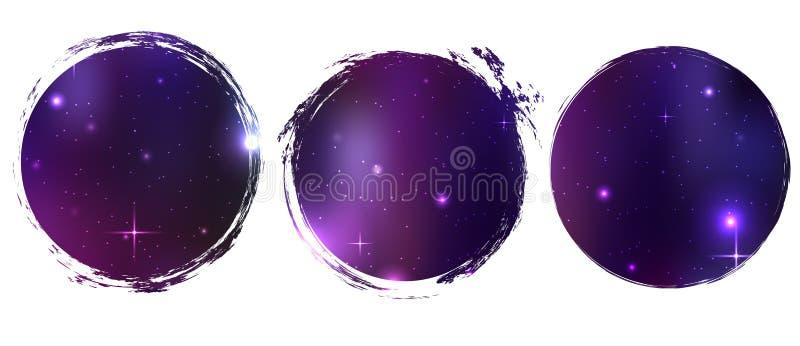 Grungecirkels met kosmische achtergrond Het voorwerp is afzonderlijk van de achtergrond vector illustratie