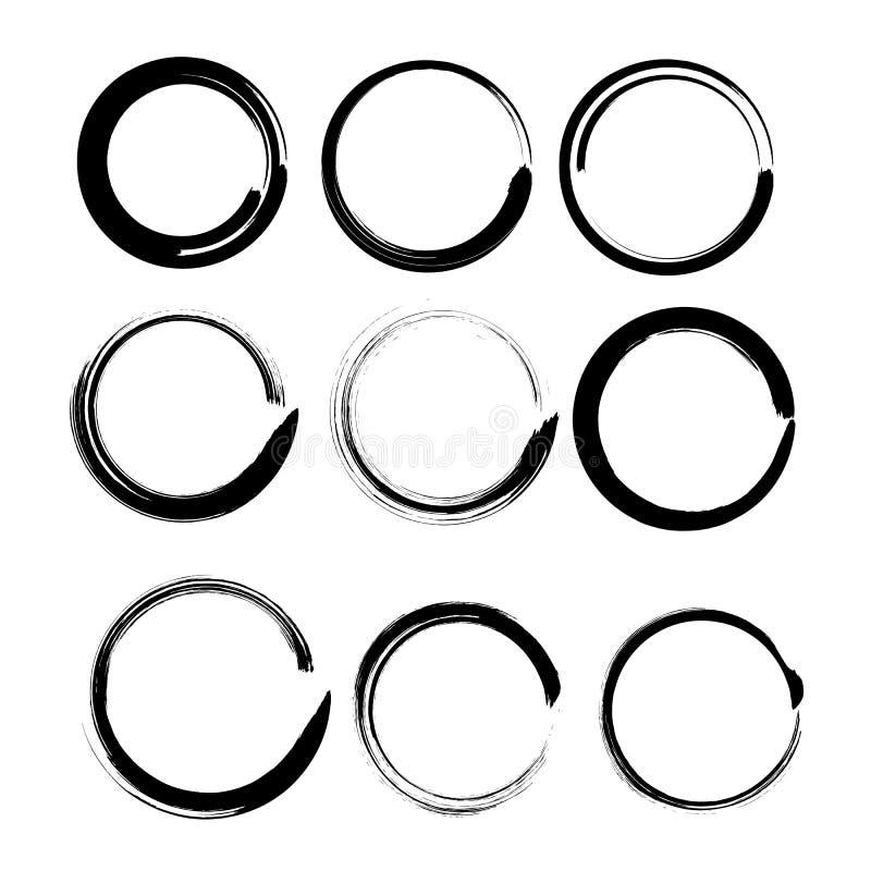 Grungecirkels voor zwarte verf. royalty-vrije stock afbeelding