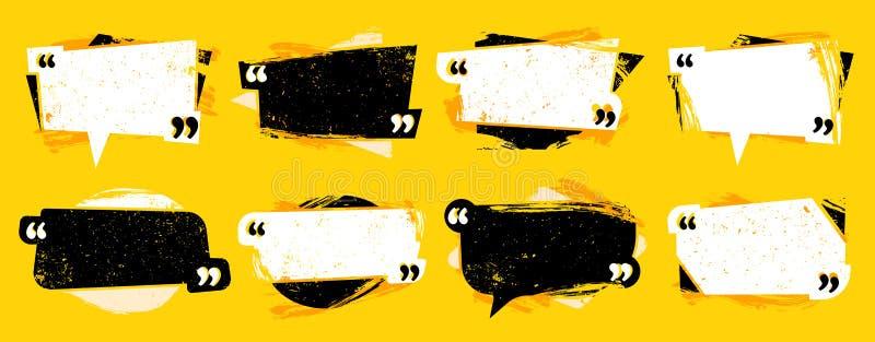 Grungecitaat in citaten Geweven citaatkader, commentaarspraak-frames en de vectorreeks van het citatenmalplaatje vector illustratie