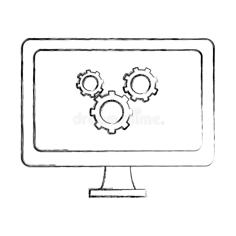 Grungecomputertechnologie met de industrie van het toestellenproces stock illustratie