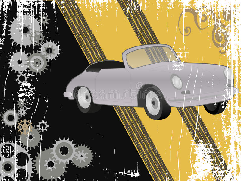 Grungedesign med den retro sportbilen royaltyfri illustrationer