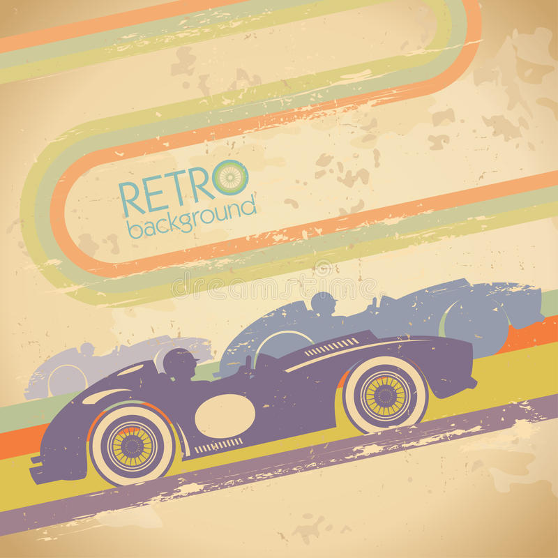 Grungedesign med den retro bilen. vektor illustrationer