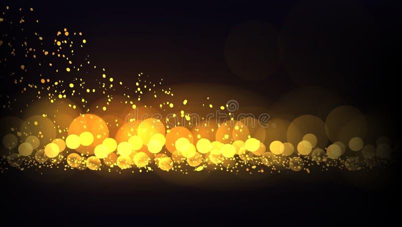 Grungeeffect de Gouden Achtergrond van de Lichtenkerstmis van Dlitter royalty-vrije illustratie