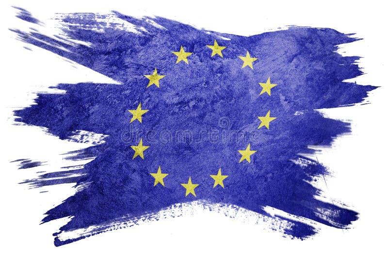 GrungeEuropa facklig flagga EU sjunker med grungetextur Borstestr royaltyfri fotografi