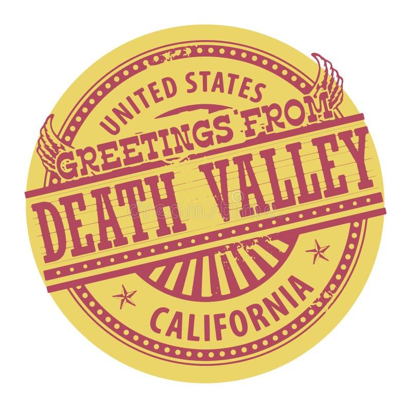 Grungefärgstämpel med texthälsningar från Death Valley stock illustrationer