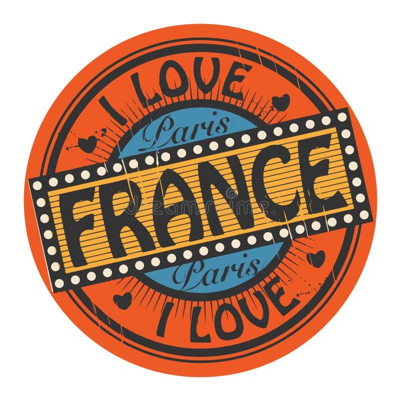 Grungefärgstämpeln med text älskar jag Frankrike inom royaltyfri illustrationer