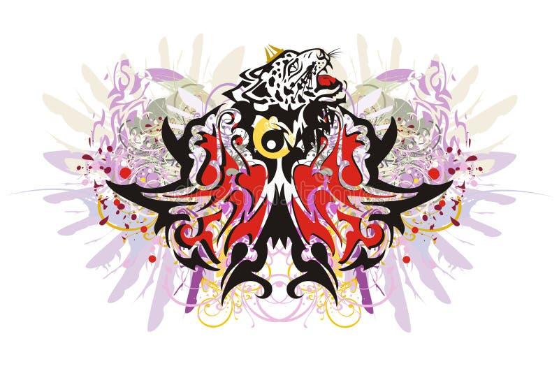 Grungefjärilsfärgstänk med leopardhuvudet stock illustrationer
