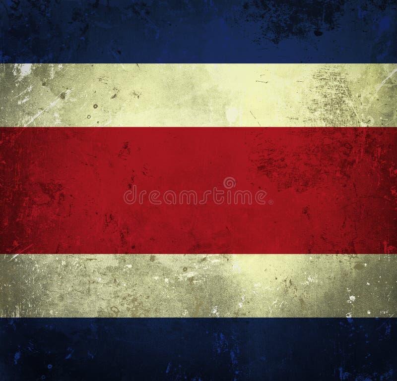 Grungeflagga av Costa Rica stock illustrationer