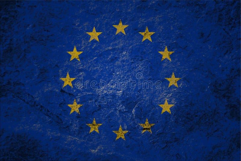 Grungeflagga för europeisk union på stenbakgrund fotografering för bildbyråer