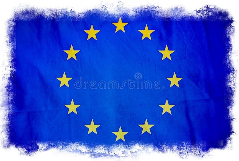 Grungeflagga f?r europeisk union stock illustrationer