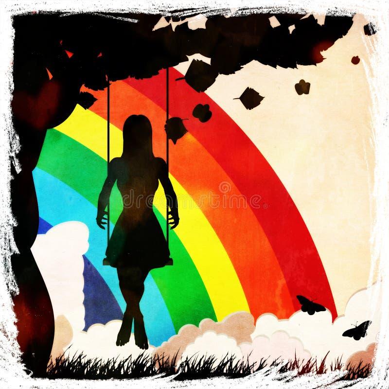 Grungeflicka på gunga och regnbågen vektor illustrationer