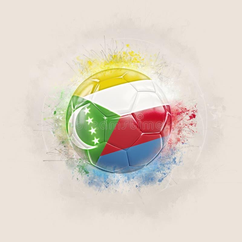 Grungefotboll med flaggan av comoros stock illustrationer